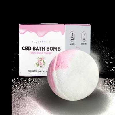 Sugar & Kush CBD Bath Bomb - Pink Rose Swirl