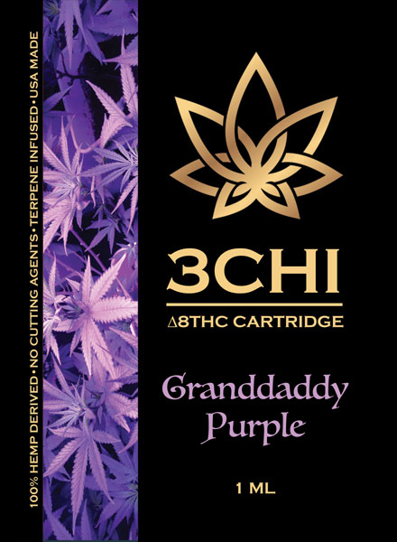 Delta 8 3 Chi cart Granddaddy purple